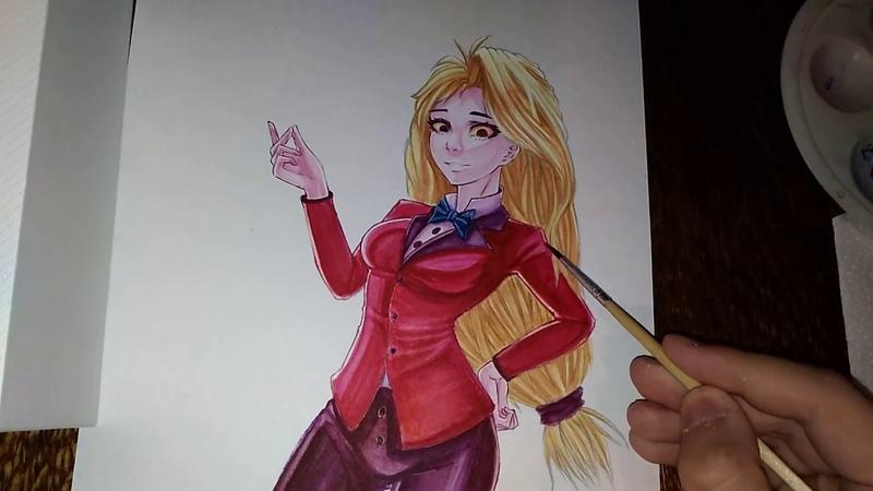 Watercoloring Charlie from Hazbin hotel