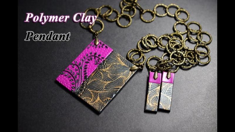 Polymer clay tutorial pendant with silkscreen украшения из полимерной глины
