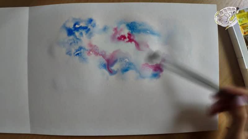 Как нарисовать звездное небо акварелью Уроки рисования звездного неба для начинающих