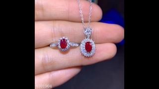 Женское ожерелье и кольцо из серебра 925 пробы с натуральным рубином купить с Aliexpress