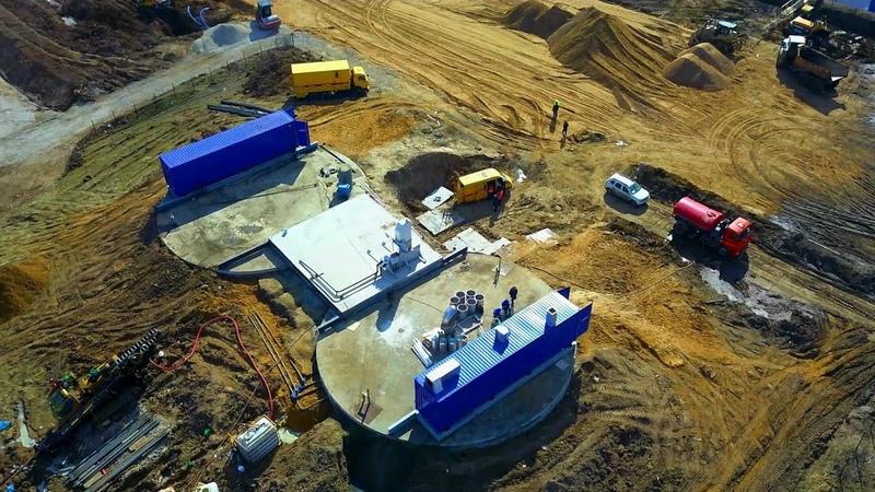 Вид с квадрокоптера на ход строительства новой больницы для зараженных коронавирусом в ТиНАО