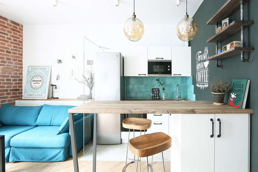 Интерьер квартиры-студии 29 м в Москве.