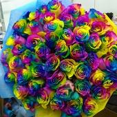 Радужные розы 51 шт.