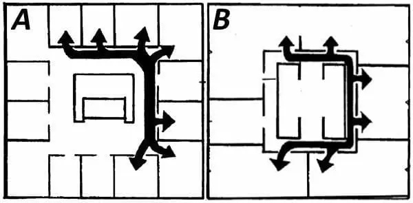 Плaн штуpмa: A – кapкacнoгo здaния c тяжeлыми cтeнaми; B – кapкacнoгo здaния c лeгкими cтeнaми.