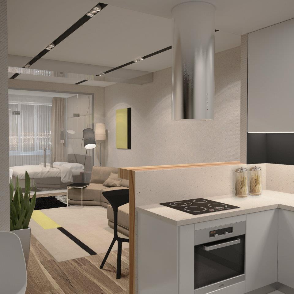 Проект квартиры сложной планировки: вытянутое помещение 47 кв.