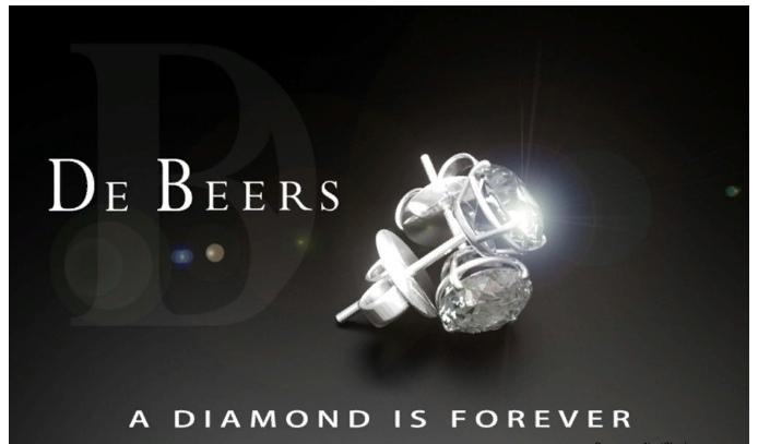 Корпорация DeBeers «Бриллианты вечны» («A diamond is forever»).