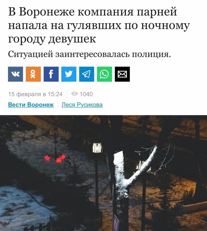 В Воронеже на двух девушек напала компания парней. Инцидент произошёл на прошлой...