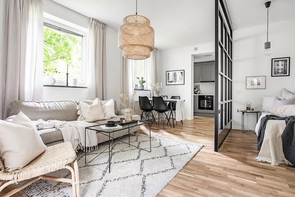 Скандинавский интерьер квартиры-студии 33 кв.