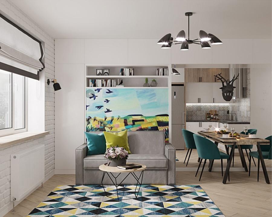 Дизайн-проект (3D-визуализация) квартиры-студии 29,2 кв.