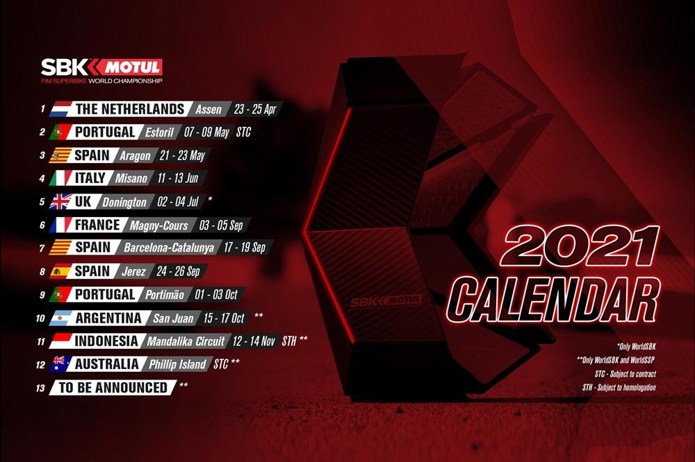 Предварительный календарь WSBK 2021