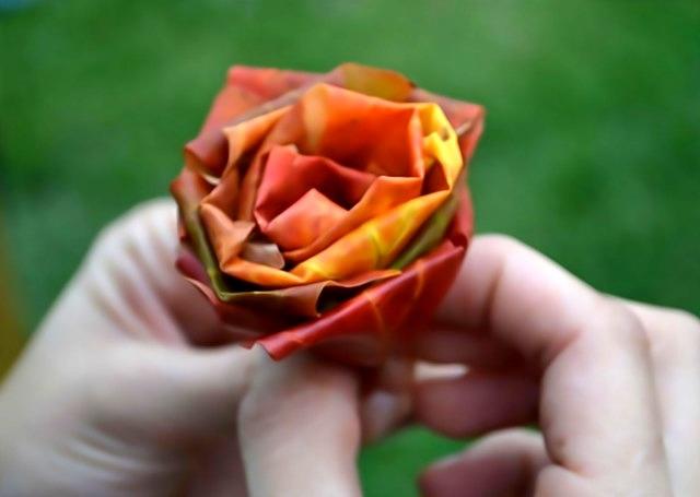 Как делать розы из кленовых листьев своими руками пошагово