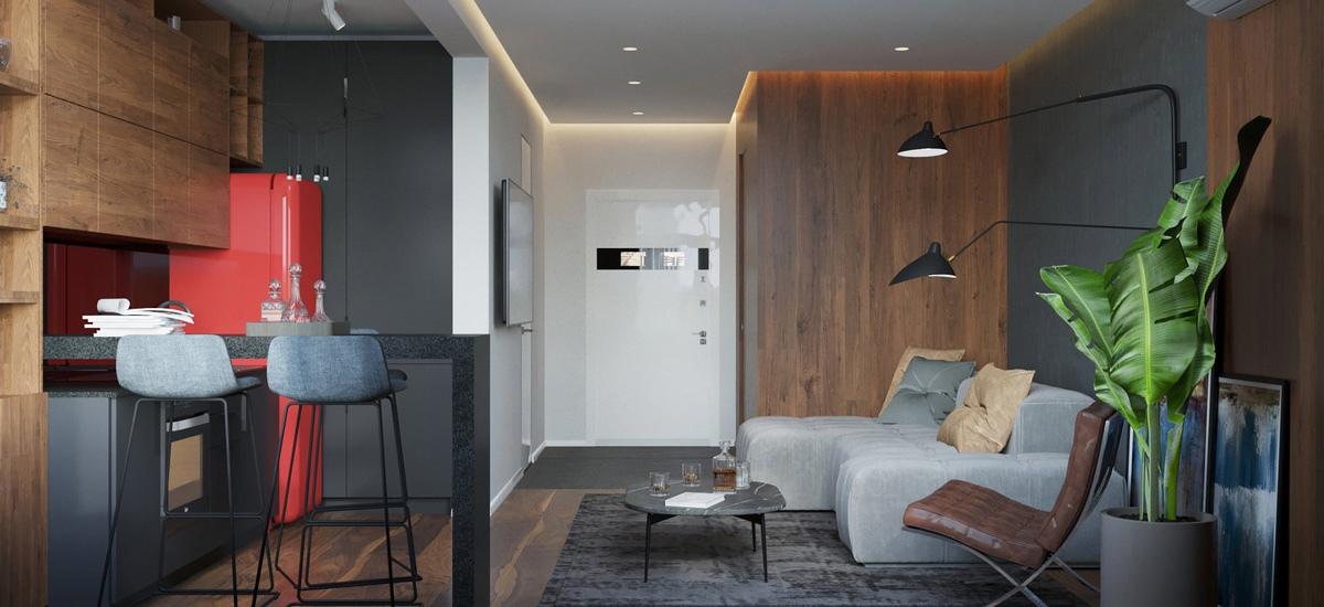 Проект студийной квартиры 33 кв.