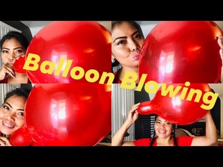 Blowing red balloon  Blowing until it popped out my Balloon My balloon matching with my shirt