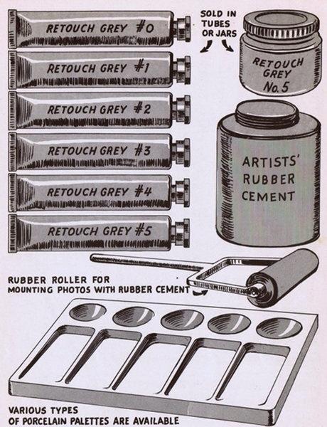 Лишь малая часть арсенала ретьушера. Рисунок из книги «Как ретушировать снимки для коммерческого использования», выпущенную в Америке в 40-х годах прошлого века.