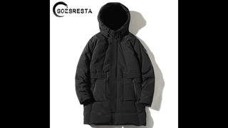 Goesresta 2021 зимняя толстая теплая куртка мужская однотонная модная длинная парка повседневная хлопковая куртка с капюшоном