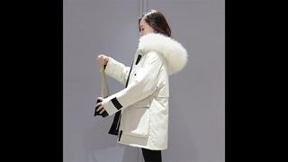 Женская зимняя куртка с большим карманом, модная короткая парка капюшоном и меховым воротником,
