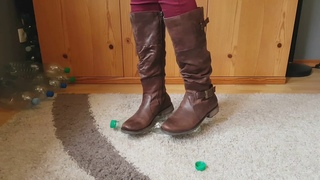 Crush Plastic bootles with my Baretraps brown boots crush fetish ASMR Recycling #CRUSHFETISH_8989