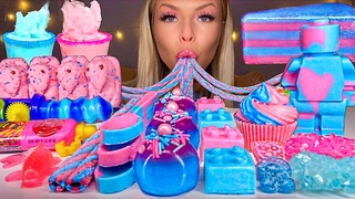 ASMR *BLUE & PINK FOOD* COTTON CANDY MARSHMALLOW FLUFF, CHOCOLATE LEGO MAN, JELLY CAKE MUKBANG 먹방