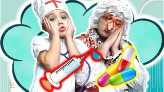 Баба Яга заболела!!! Срочно врача!!! Маша и Ян не знают что делать!