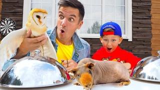 ЧЕЛЛЕНДЖ Отгадай Животное по Еде! Обычная ЕДА против НАСТОЯЩИХ Животных Challenge for kids