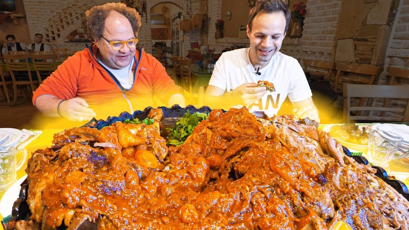 EXTREME Food in Iran!! Whole DINOSAUR LAMB PLATTER NEVER SEEN Village COOKING of Iran!